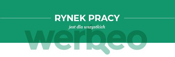 Logo                                       Werbeo na zielonym tle - rynek                                       pracy jest dla wszytskich